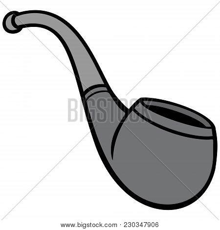 Smoking Pipe Illustration - A Vector Cartoon Illustration Of A Classic Smoking Pipe.