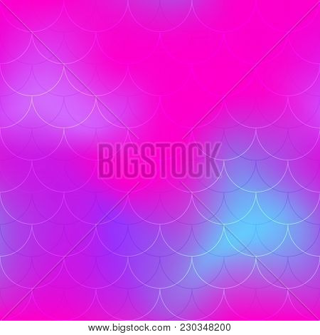 Hot Pink Blue Mermaid Scale Vector Background. Neon Iridescent Background. Fish Scale Pattern. Seaml