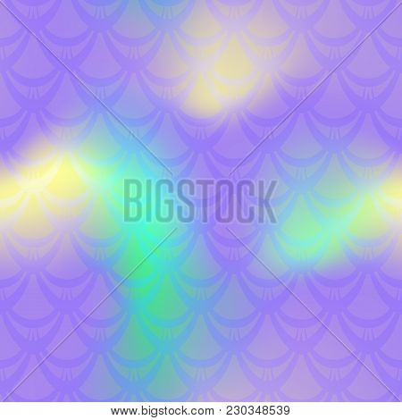 Violet Yellow Mermaid Vector Background. Mermaid Seamless Pattern Tile. Holographic Gradient. Fish S
