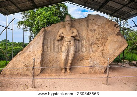 The ancient statue which is believed to be that of King Parakramabahu the Great (1153-1186 A.D.) at Potgul Vihara in the ancient city of ancient city of Polonnaruwa, Sri Lanka