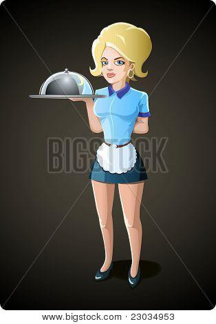 Female Waiter Vector