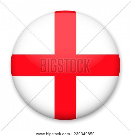 Flag of England in the form of a round button with a light glare and a shadow.