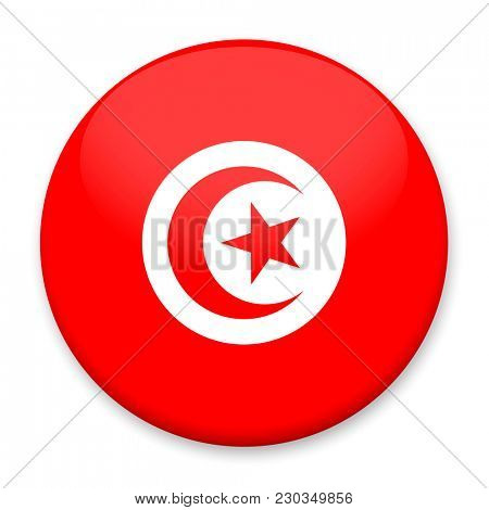 Flag of Tunisia in the form of a round button with a light glare and a shadow.