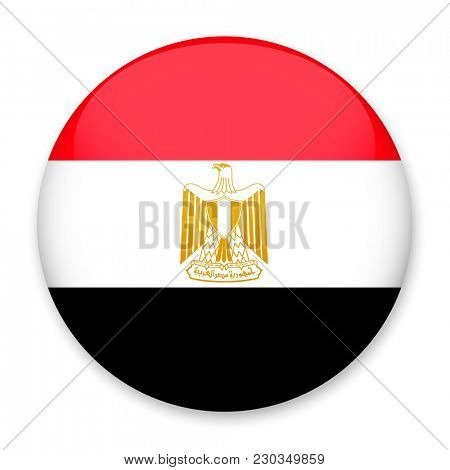 Flag of Egypt in the form of a round button with a light glare and a shadow.