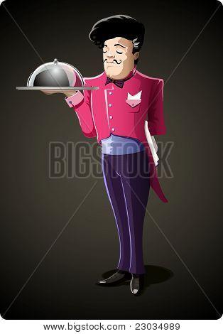Vector Male Waiter in Dark Grey Background