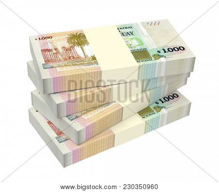 Uruguay peso bills isolated on white with clipping path. 3D illustration.