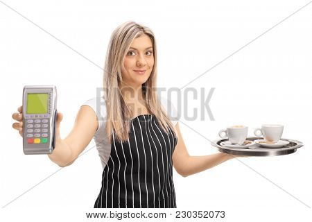 Waitress holding a payment terminal and a tray with two cups of coffee isolated on white background