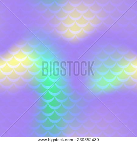 Violet Yellow Mermaid Vector Background. Fish Scale Pattern. Mermaid Seamless Pattern Tile. Holograp