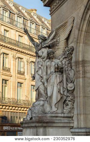 Paris, France, March 27 2017: Architectural details of Opera National de Paris: Dance Facade sculpture by Carpeaux. Grand Opera Garnier Palace is famous neo-baroque building in Paris