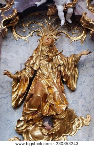 AMORBACH, GERMANY - JULY 08: Statue of Saint in Amorbach Benedictine monastery church in the district of Miltenberg in Lower Franconia in Bavaria, Germany on July 08, 2017.