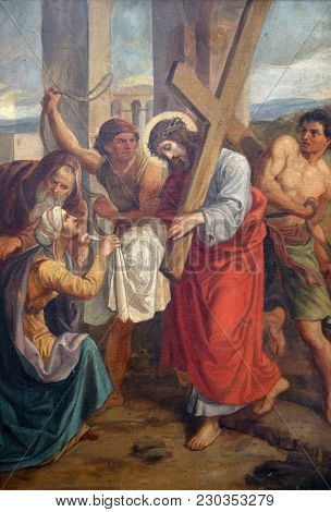 SISAK, CROATIA - DECEMBER 07: 6th Stations of the Cross, Veronica wipes the face of Jesus, Church of Visitation of the Virgin Mary in Sisak, Croatia, on December 07, 2017.