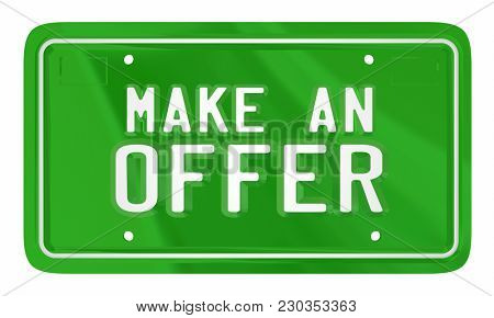 Make an Offer License Plate Car Automobile Buy Sell 3d Illustration
