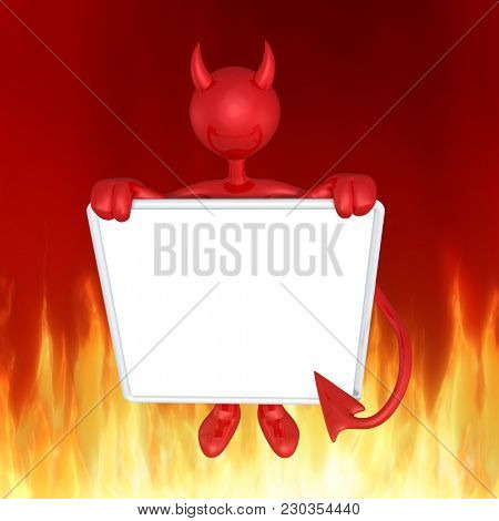 The Original 3D Character Illustration Devil With A Blank Sign
