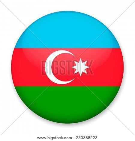 Flag of Azerbaijan in the form of a round button with a light glare and a shadow.