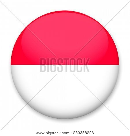 Flag of Monaco  in the form of a round button with a light glare and a shadow.
