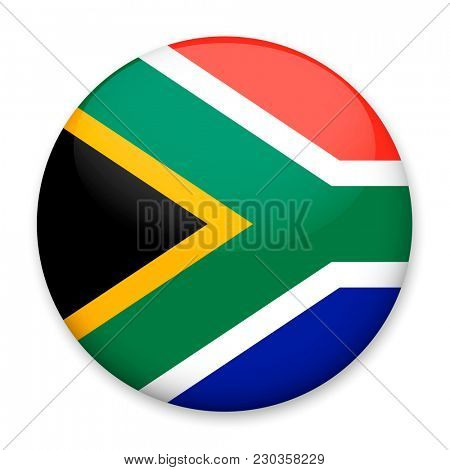 Flag of South Africa in the form of a round button with a light glare and a shadow.
