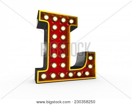 High quality 3D illustration of the letter L in Broadway style with light bulbs illuminating it over white background