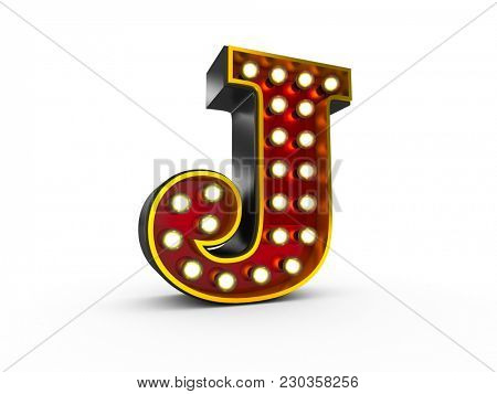 High quality 3D illustration of the letter J in Broadway style with light bulbs illuminating it over white background