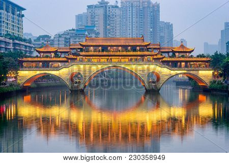 Chengdu, China at Anshun Bridge over the Jin River.