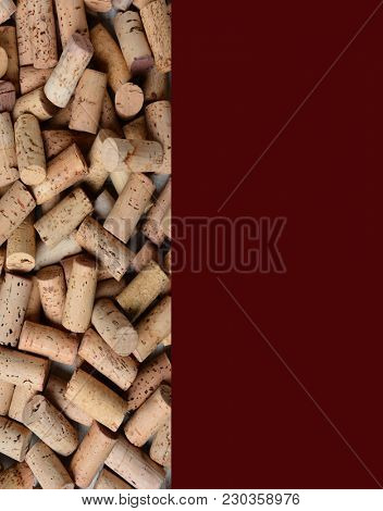 Wine Corks with copy space for wine menu or list.