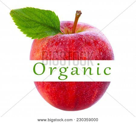 Closeup of a gala apple with leaf - The middle is cut out and the Word Organic is between the two halves.
