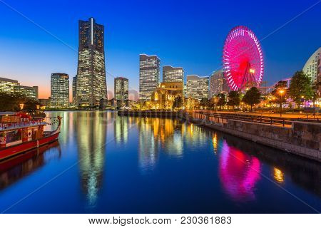 Yokohama, Japan - November 6, 2016 : Architecture of Yokohama cityat night, Japan. Yokohama is the second largest city in Japan by population and most populous municipality.