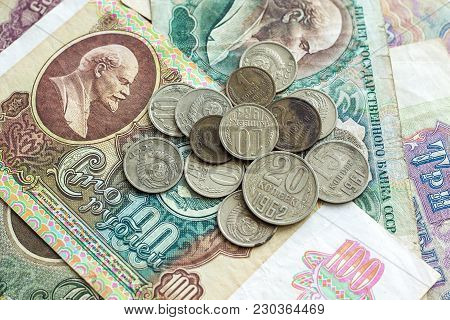 Old Money (banknotes And Coins) In The Ussr. Vintage Background