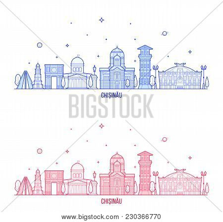 Chisinau Skyline, Moldova. This Illustration Represents The City With Its Most Notable Buildings. Ve