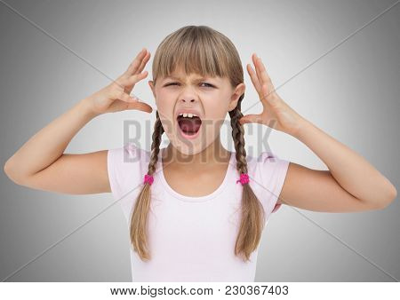 Digital composite of Girl against grey background screaming frustrated and angry