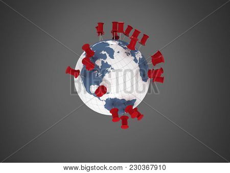 Digital composite of Grey background with world globe with location pins