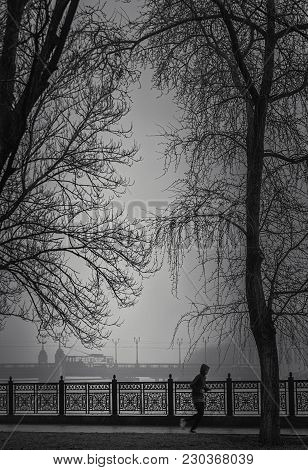 Black And White Landscape, An Athlete Runs Around The City Park In Bad Weather