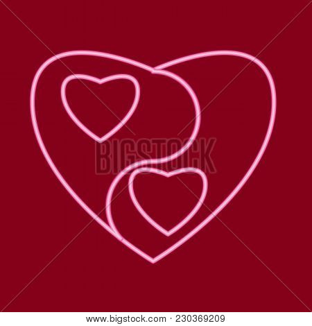 Heart In The Form Of Yin And Yang. Icon With The Effect Of Neon Glow. Vector Image