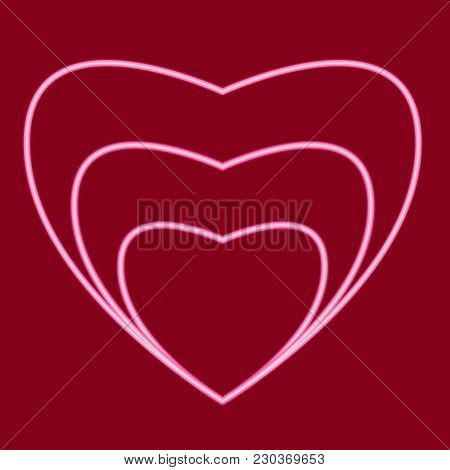 Three Hearts, Located Inside Each Other. Icon With The Effect Of Neon Glow. Vector Image