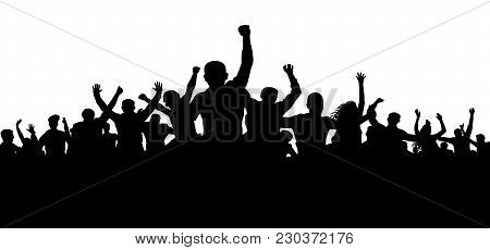 Protesters, Enraged Crowd Of People Silhouette Vector, Angry Mob