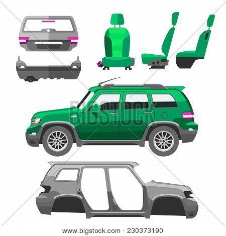 Car Service Parts Flat Vector Illustration. Auto Mechanic Repair Of Machines And Equipment. Car Diag