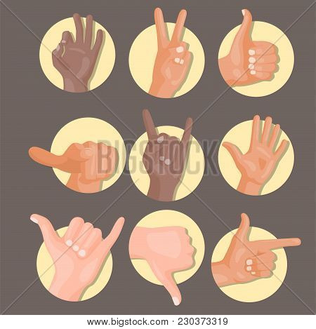 Hands Showing Deaf-mute Different Gestures Isolated Human Arm Hold Collection Communication And Dire