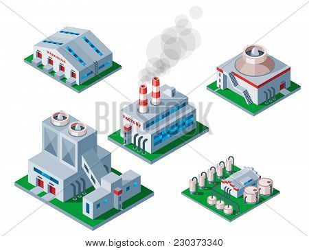 Isometric Factory Building Vector Icon Industrial Element Warehouse Symbol. Architecture House Exter