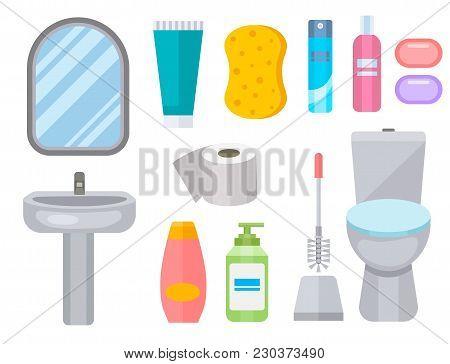 Bath Equipment Icon Toilet Bowl Bathroom Clean Flat Style Illustration Hygiene Design. Isolated Vect