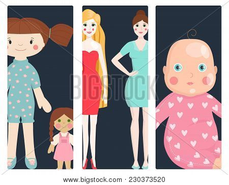 Dolls Toy Character Cards Game Dress And Farm Scarecrow Rag-doll Vector Illustration. Pretty Underwe