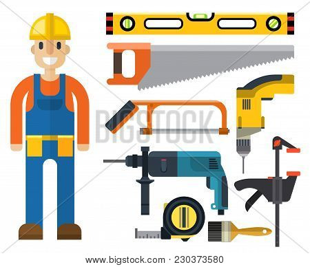 Construction Man And Building Tools Vector Set. Carpenter Industry Worker Equipment. Professional En