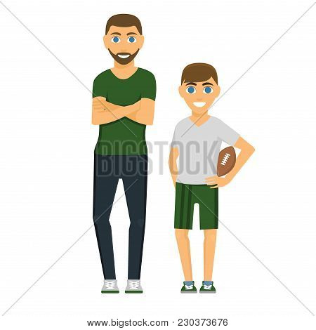 Family People Adult Happiness Smiling Father Son Togetherness Parenting Concept And Casual Parent Ch