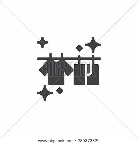 T-shirts Hanging On A Clothesline Vector Icon. Filled Flat Sign For Mobile Concept And Web Design. D