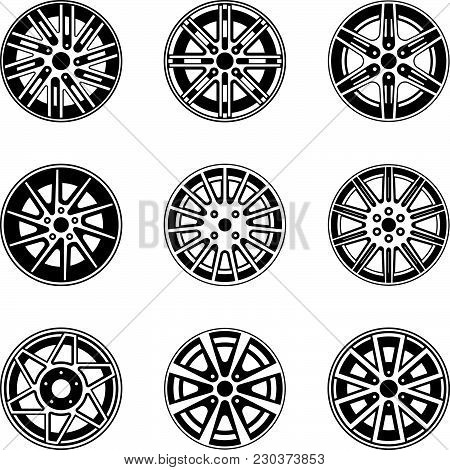Set Of Various Forms Of Car Wheel Icons