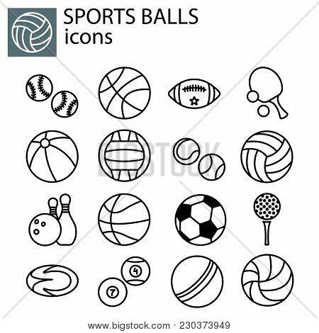 Web Line Set. Sports Balls Black On White Background