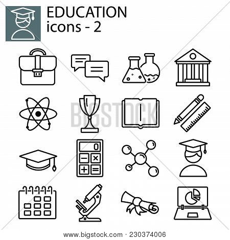 Web Line Set. Education (university, Science) Black On White Background