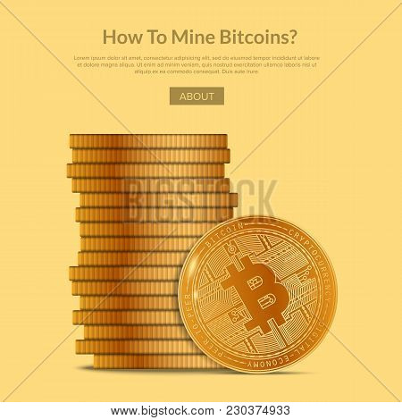 Vector Template For Webpage Design With Stack Of Golden Bitcoins And Information In Article.