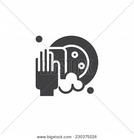 Clean Dishes Vector Icon. Filled Flat Sign For Mobile Concept And Web Design. Dishwasher Simple Soli