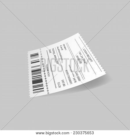 Cash Receipt With Card Transaction On Gray Background.