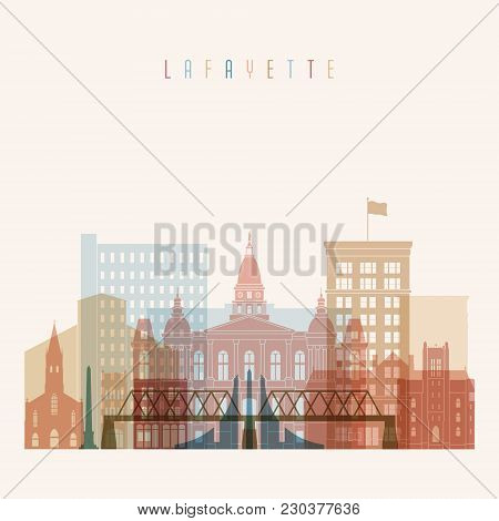 Lafayette State Indiana, Skyline Detailed Silhouette. Transparent Style. Trendy Vector Illustration.