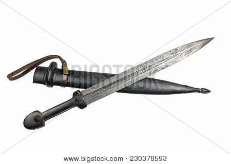 Old Caucasian Dagger With A Scabbard On A White Background, Isolated